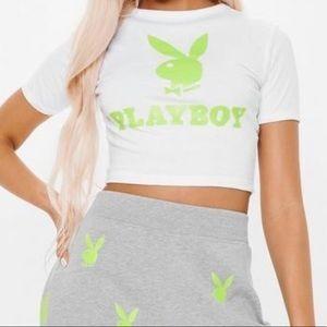Missguided x Playboy White & Neon Green Crop Tee